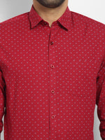 Cape Canary Men's RED Cotton Printed Casual Shirt-6