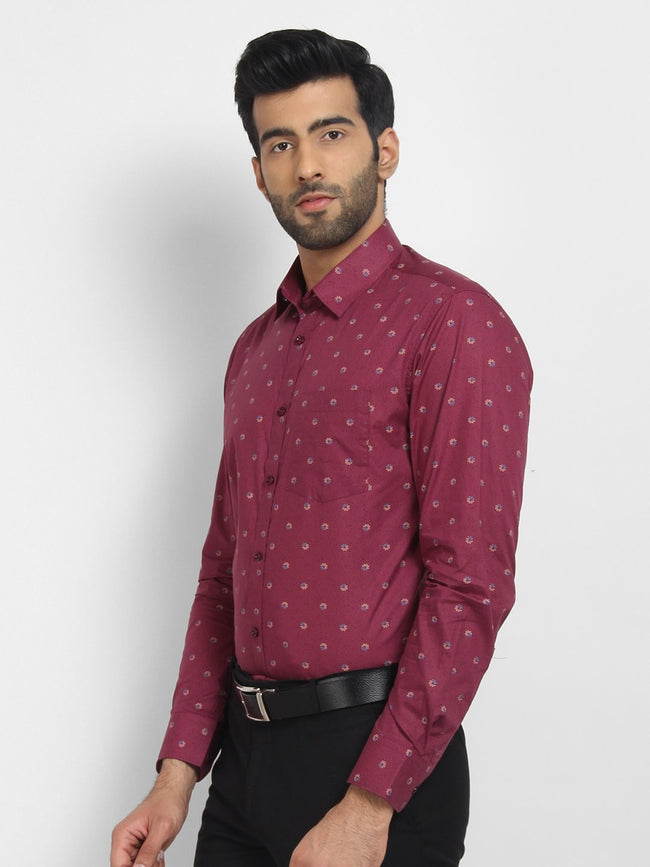 Cape Canary Men's MAROON Cotton Printed Casual Shirt