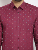 Cape Canary Men's MAROON Cotton Printed Casual Shirt-6