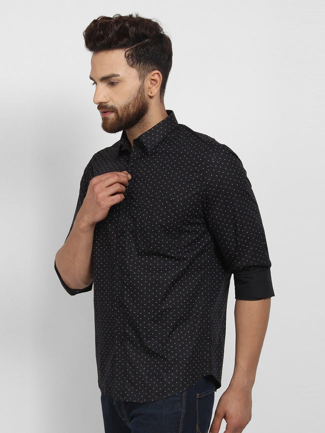 Cape Canary Men's Black Cotton Printed Casual Shirt