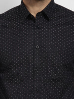 Cape Canary Men's Black Cotton Printed Casual Shirt-6