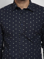 Cape Canary Men's Navy Cotton Printed Casual Shirt-6