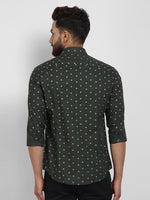 Cape Canary Men's GREEN Cotton Printed Casual Shirt-2