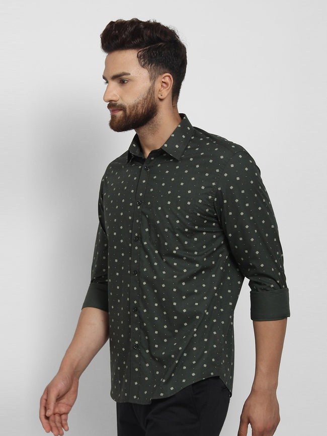 Cape Canary Men's GREEN Cotton Printed Casual Shirt