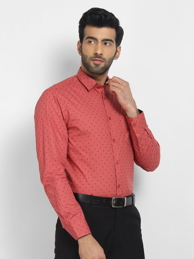 Cape Canary Men's RED Cotton Printed Casual Shirt