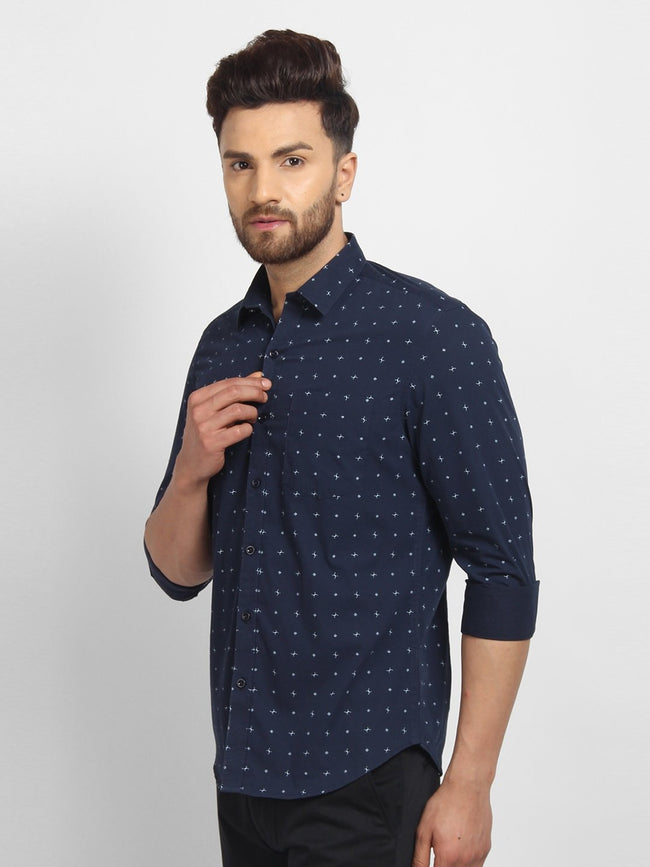 Cape Canary Men's Navy Cotton Printed Casual Shirt