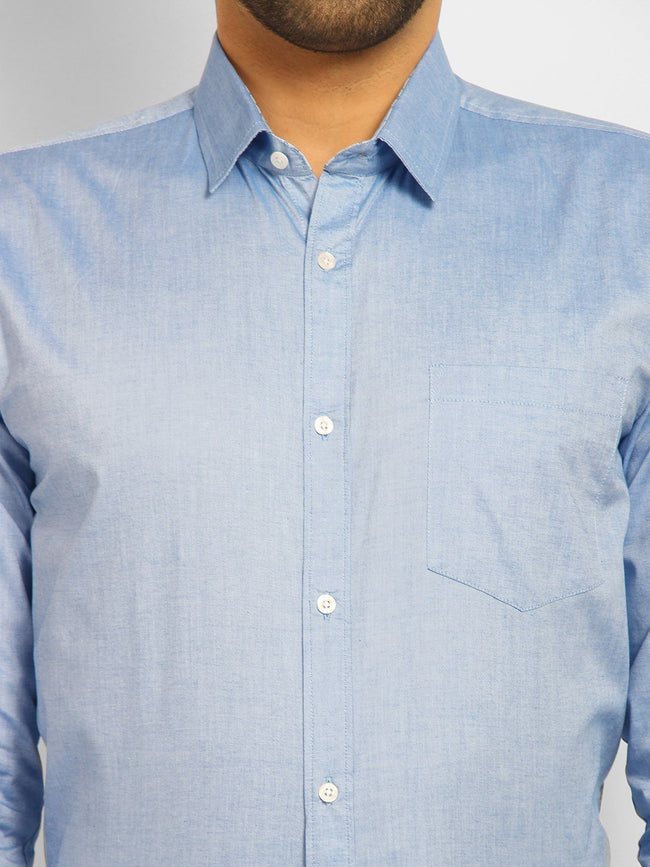 Cape Canary Men's Blue Cotton Solid Formal Shirt