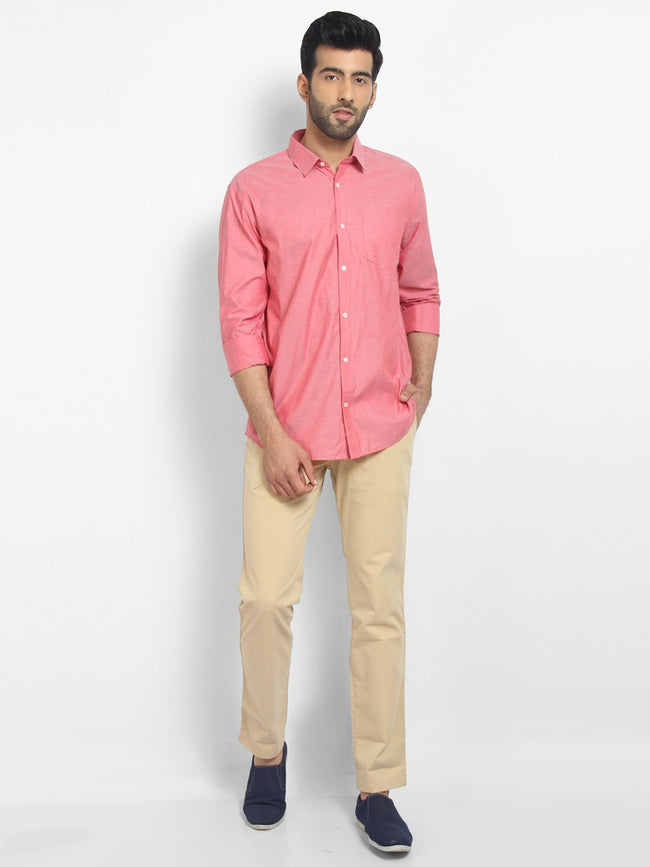 Cape Canary Men's PINK Cotton Solid Formal Shirt