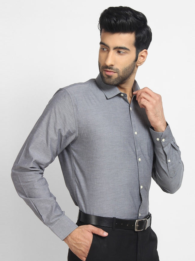Cape Canary Men's GREY Cotton Solid Formal Shirt