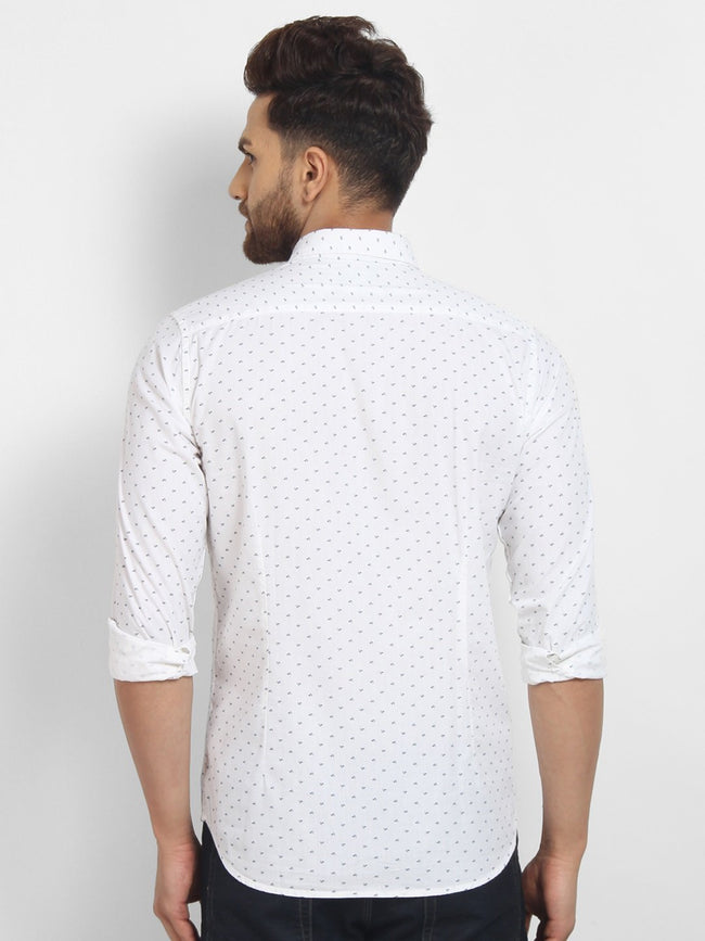 Cape Canary Men's WHITE Cotton Printed Casual Shirt