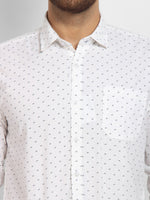 Cape Canary Men's WHITE Cotton Printed Casual Shirt-6