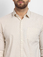 Cape Canary Men's Beige Cotton Printed Casual Shirt-6
