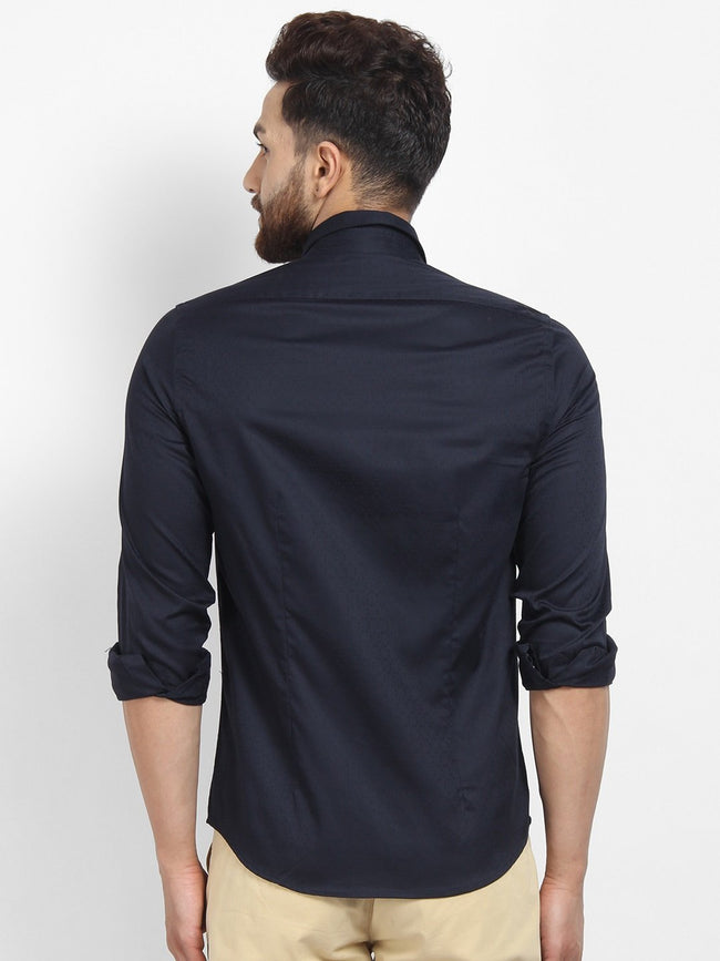 Cape Canary Men's Navy Cotton Solid Formal Shirt