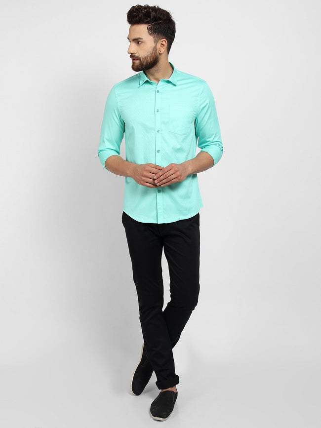 Cape Canary Men's Turquoise Cotton Solid Formal Shirt