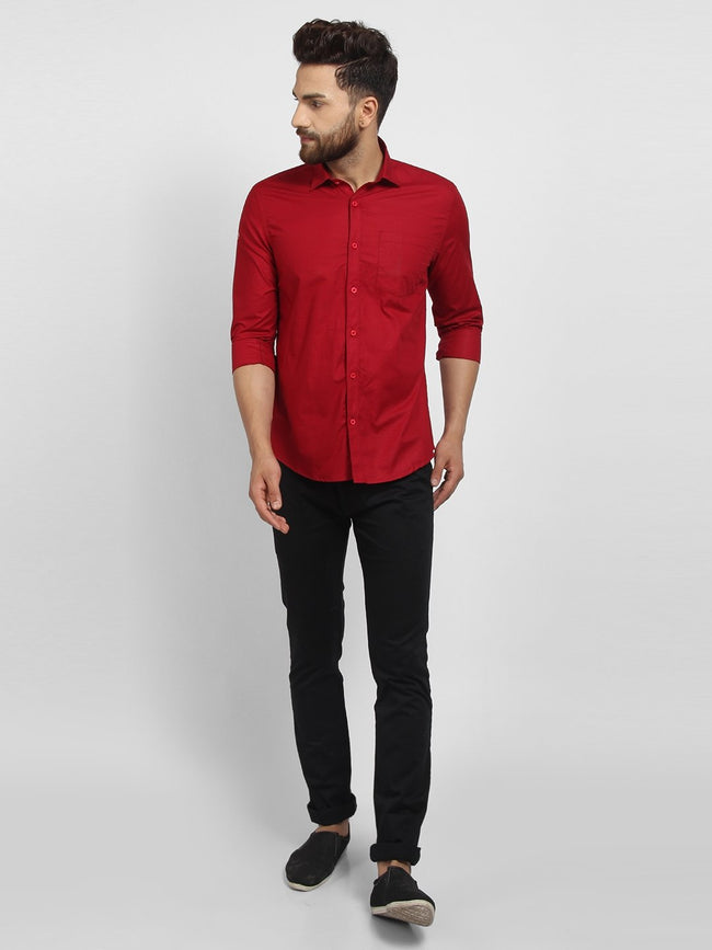 Cape Canary Men's red Cotton Solid Formal Shirt