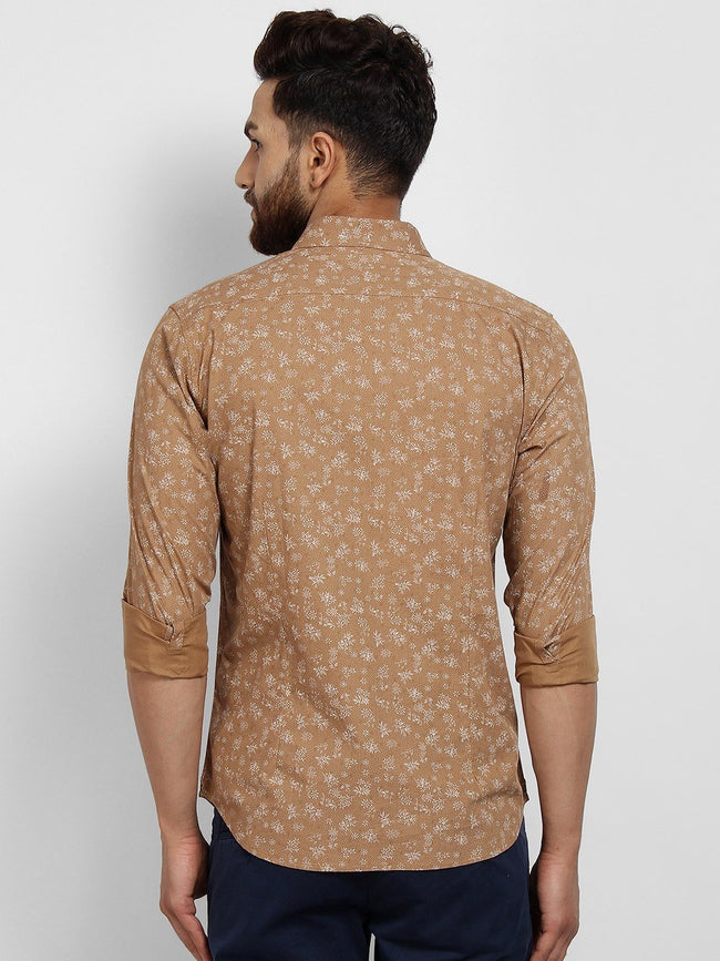 Cape Canary Men's Beige Cotton Printed Casual Shirt