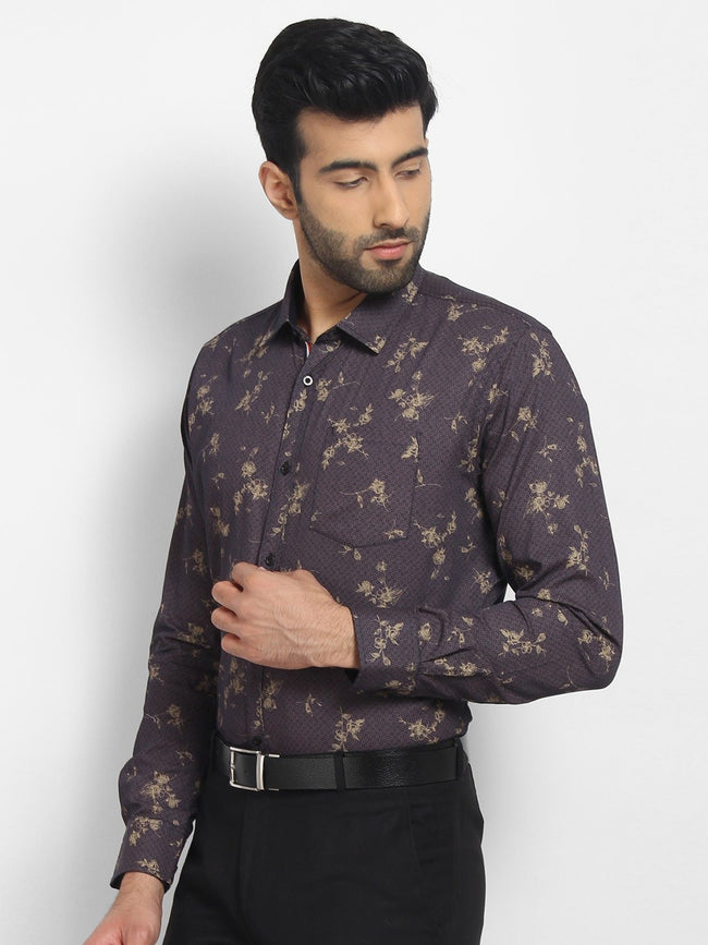 Cape Canary Men's Purple Cotton Printed Casual Shirt