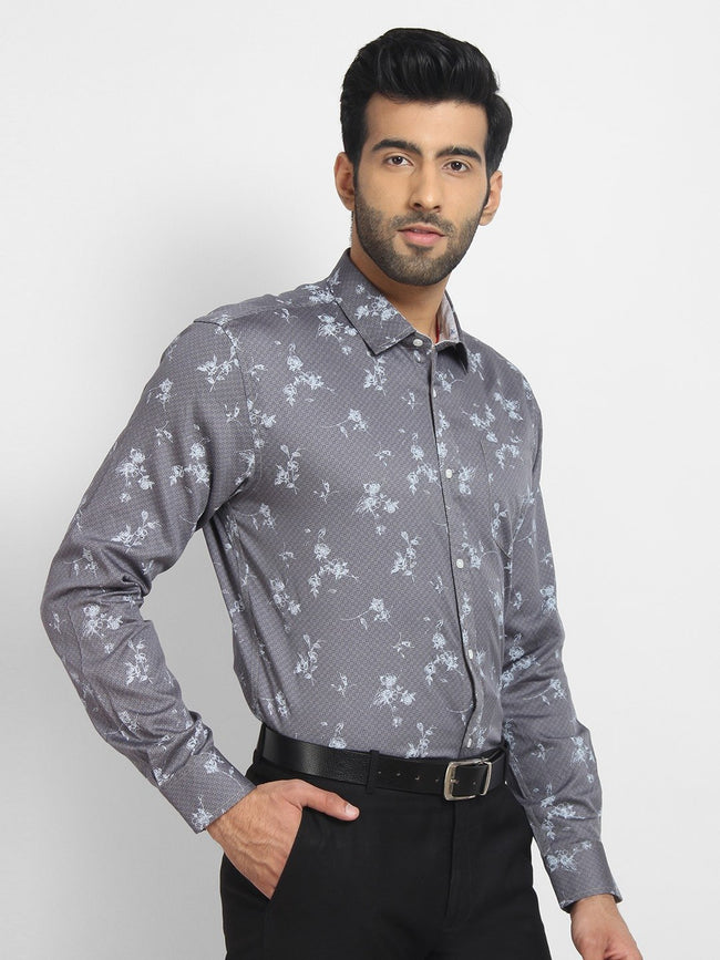 Cape Canary Men's Grey Cotton Printed Casual Shirt