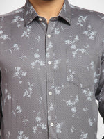 Cape Canary Men's Grey Cotton Printed Casual Shirt-6