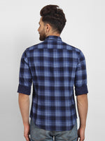 Cape Canary Men's Blue Cotton Checkered Casual Shirt-2
