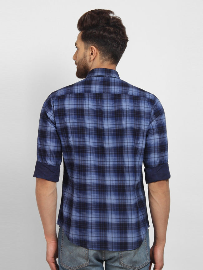 Cape Canary Men's Blue Cotton Checkered Casual Shirt