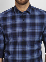 Cape Canary Men's Blue Cotton Checkered Casual Shirt-6