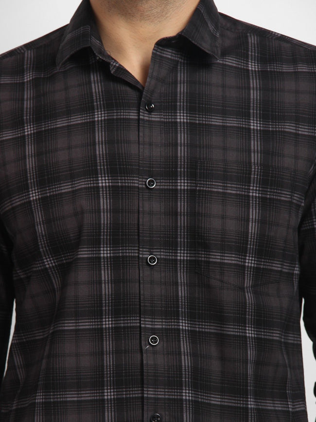 Cape Canary Men's Black Cotton Checkered Casual Shirt