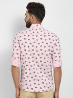 Cape Canary Men's Peach Cotton Printed Casual Shirt-2