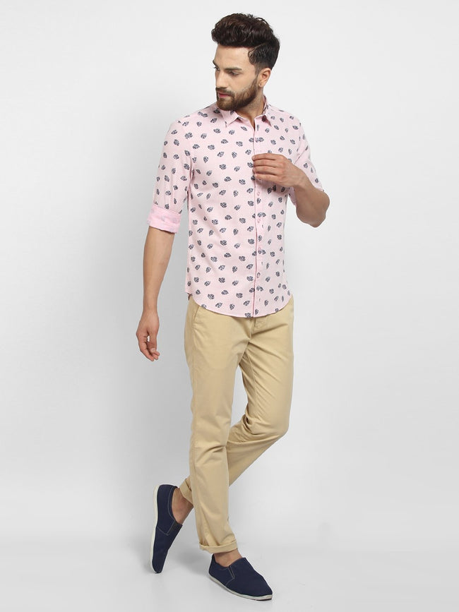 Cape Canary Men's Peach Cotton Printed Casual Shirt