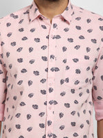 Cape Canary Men's Peach Cotton Printed Casual Shirt-6