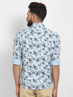 Cape Canary Men's Blue Cotton Printed Casual Shirt-2