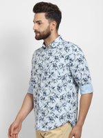 Cape Canary Men's Blue Cotton Printed Casual Shirt-4