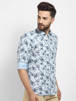 Cape Canary Men's Blue Cotton Printed Casual Shirt-5