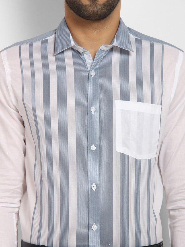 Cape Canary Men's Blue Cotton Striped Formal Shirt