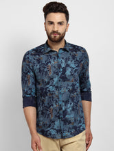 Cape Canary Men's Blue Cotton Printed Casual Shirt