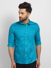 Cape Canary Men's Turquoise Cotton Printed Casual Shirt