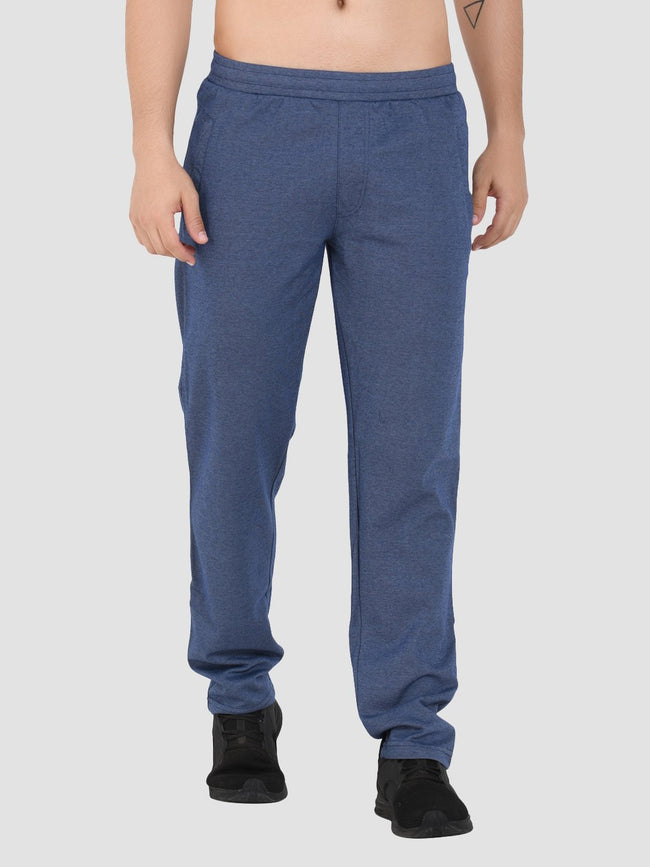 Sapper Men's Blue Cotton-lycra Slim fit Track pants