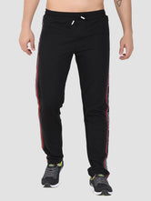Sapper Men's Black Cotton-lycra Full length Track pants