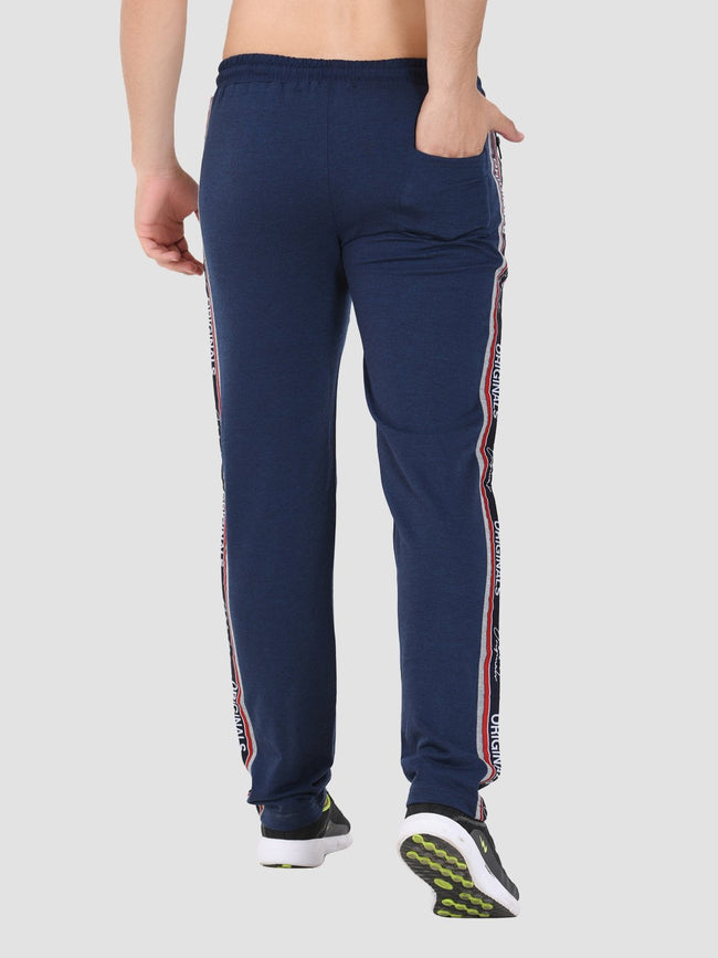 Sapper Men's Blue Cotton-lycra Full length Track pants