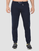 Sapper Men's Blue Ankle-length Cotton-lycra Track pants