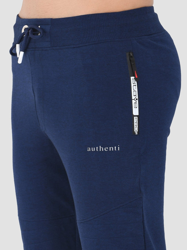Sapper Men's Slim-fit Blue Cotton-lycra Track pants