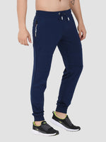 Sapper Men's Slim-fit Blue Cotton-lycra Track pants-4