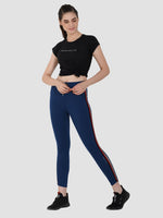 Sapper Women's Cotton Blend Blue Track Pants-3
