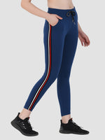 Sapper Women's Cotton Blend Blue Track Pants-4