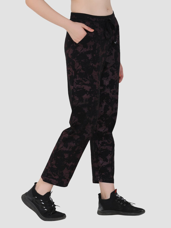 Sapper Women's Purple Printed Cotton-Lycra Track Pants