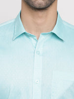 Cape Canary Men's Blue Regular-fit Printed Casual Cotton Shirt-5