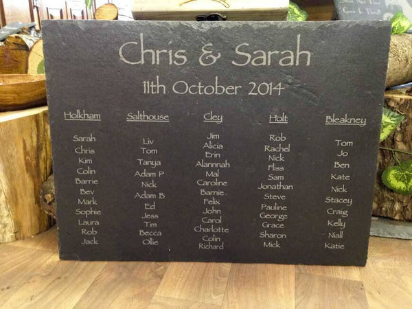 Personalised Hand Cut Natural Rustic Large Slate Wedding Table Plan