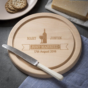 Cheese Board - Engraved Round Beech Cheese Board Or Chopping Board - Banner Design
