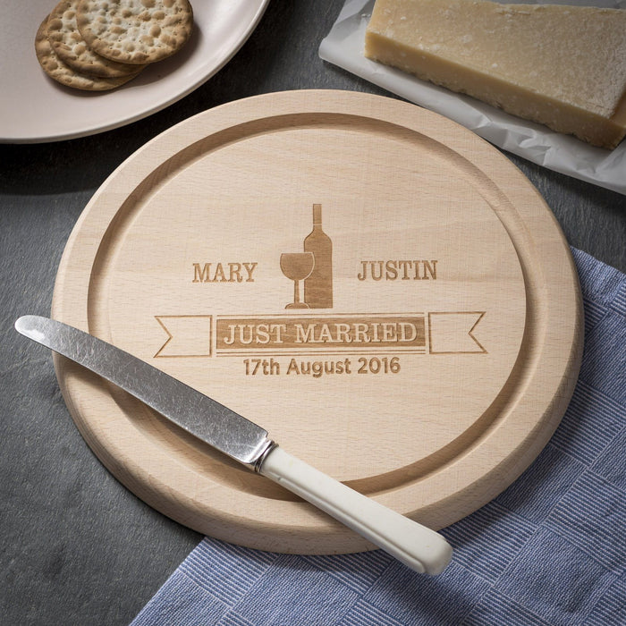Engraved Round Beech Cheese Board or Chopping Board - Banner Design