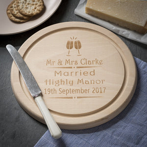 Cheese Board - Engraved Round Beech Cheese Board Or Chopping Board - Mr & Mrs Glasses Design